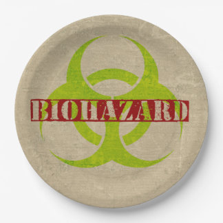 Biohazard Zombie Halloween Party Paper Plates 9 Inch Paper Plate