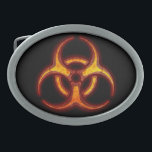 "Biohazard Zombie Warning Belt Buckle<br><div class=""desc"">Glowing red and yellow Biohazard Warning,  choose your own background color.</div>"