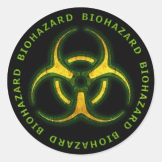 Biohazard Zombie Warning Classic Round Sticker