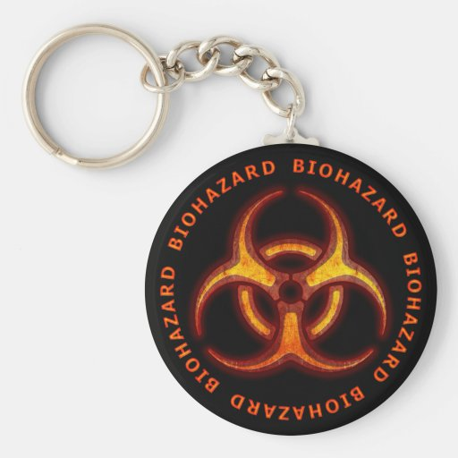 Biohazard Zombie Warning Basic Round Button Keychain