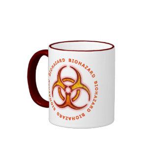 Biohazard Zombie Warning Ringer Coffee Mug