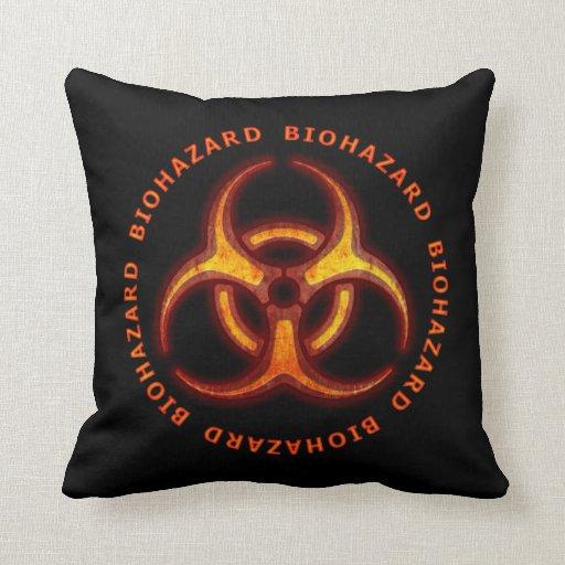 Biohazard Zombie Warning Throw Pillow