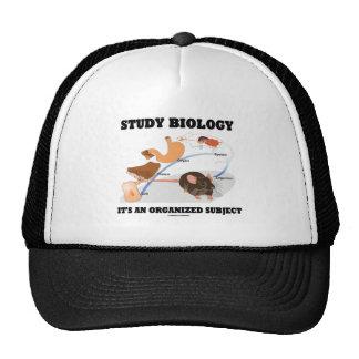 Biología del estudio es un tema organizado gorro de camionero