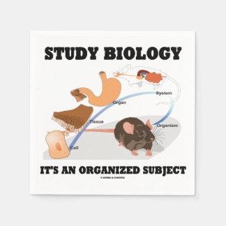 Biología del estudio es un tema organizado servilletas de papel