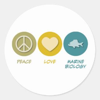 Biología del infante de marina del amor de la paz pegatina redonda