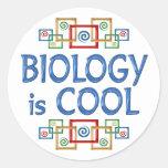 Biología fresca etiqueta redonda