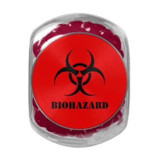 Biological Hazard Biohazard  Halloween Treats Glass Candy Jars