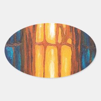 Biological Orange Prisoner  (abstract symbolism ) Oval Sticker