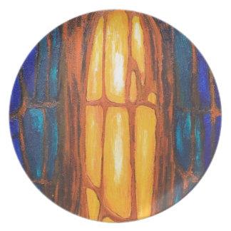 Biological Orange Prisoner abstract symbolism Dinner Plate