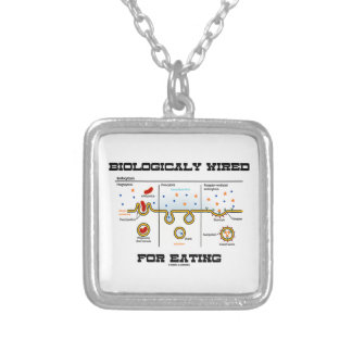 Biologically Wired For Eating (Endocytosis) Square Pendant Necklace