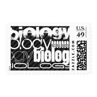 Biology; Black & Dark Gray Stripes Postage