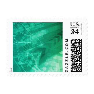 Biology Cells and Modern Medical Technology as Art Postage