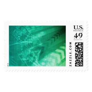 Biology Cells and Modern Medical Technology as Art Postage Stamp