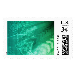 Biology Cells and Modern Medical Technology as Art Stamp