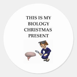 biology christmas joke round stickers