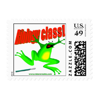 Biology class frog stamp