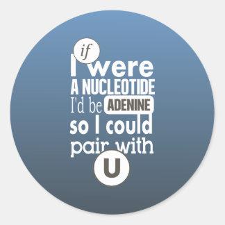 Biology nucleotide adenine pair with uracil U Classic Round Sticker