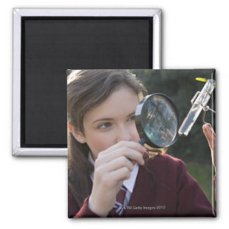Biology student studying plant 2 inch square magnet