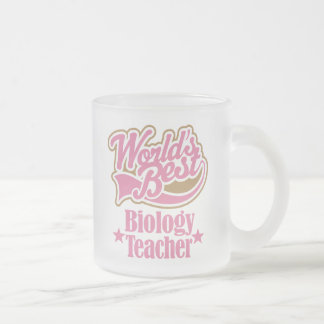 Biology Teacher Gift (Worlds Best) Frosted Glass Coffee Mug