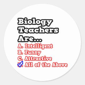 Biology Teacher Quiz...Joke Round Stickers