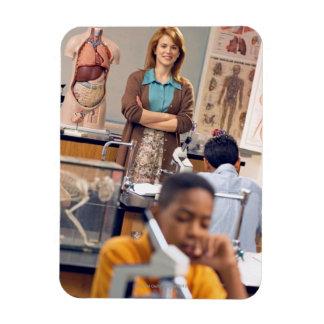 Biology teacher standing in class rectangular photo magnet