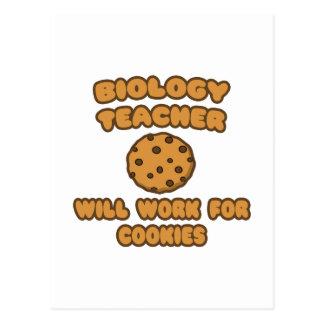 Biology Teacher  .. Will Work for Cookies Postcard