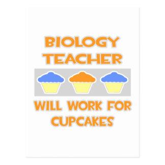 Biology Teacher... Will Work For Cupcakes Postcard