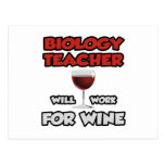 Biology Teacher ... Will Work For Wine Postcard