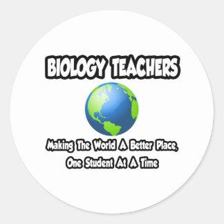 Biology Teachers...World a Better Place Classic Round Sticker