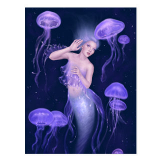 Bioluminescence Mermaid Art Postcard