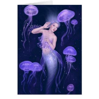 Bioluminescence Purple Jellyfish Mermaid Greeting Card