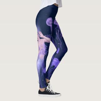 Bioluminescence Purple Jellyfish Mermaid Leggings