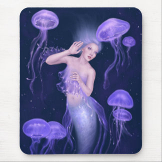 Bioluminescence Purple Jellyfish Mermaid Mousepad