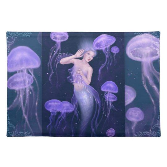 Bioluminescence Purple Jellyfish Mermaid Placemat