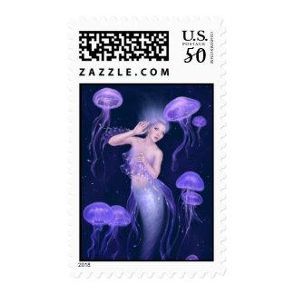 Bioluminescence Purple Jellyfish Mermaid Postage