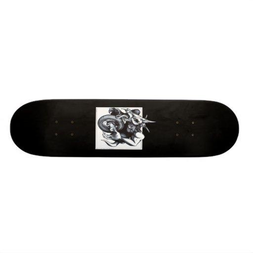 Biomechanical Draconic Unicycle Skateboard Deck