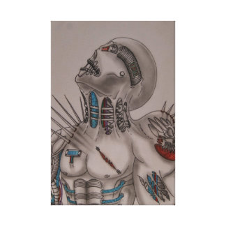BIOMECHANICAL WARIOR STRETCHED CANVAS PRINTS
