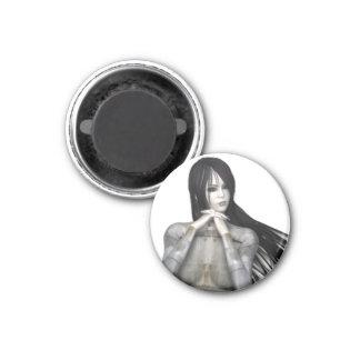 Biomechannequin Woman 3 - 3D Goth Mannequin 1 Inch Round Magnet