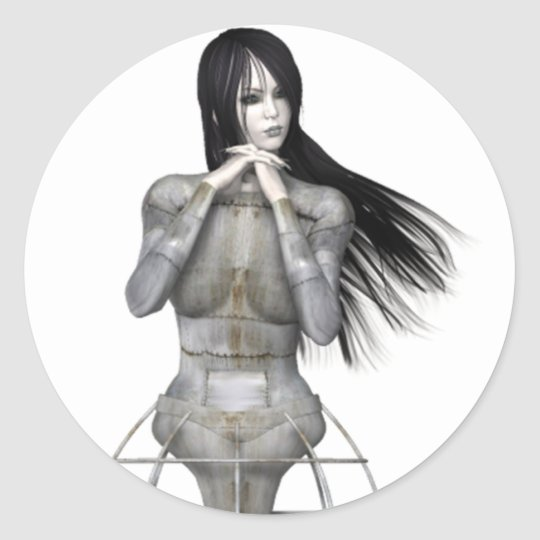Biomechannequin Woman 3 - 3D Goth Mannequin Classic Round Sticker