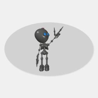 Bionic Boy 3D Robot - Finger Guns 2 - Original Oval Sticker