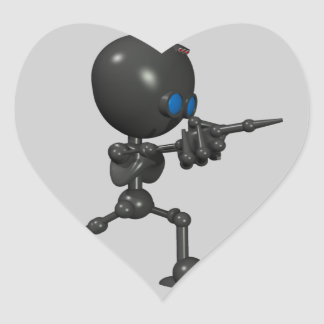 Bionic Boy 3D Robot - Finger Guns - Original Heart Sticker