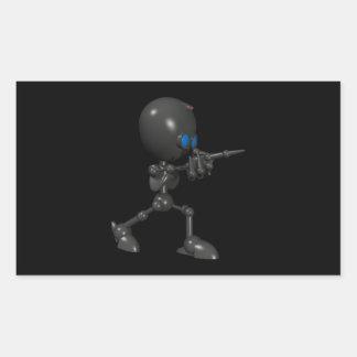 Bionic Boy 3D Robot - Finger Guns - Original Rectangular Sticker