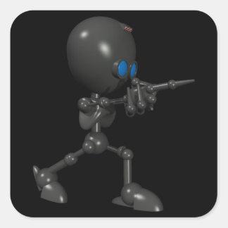 Bionic Boy 3D Robot - Finger Guns - Original Square Stickers