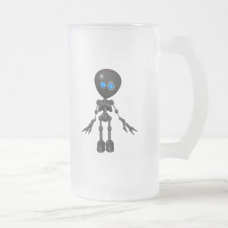 Bionic Boy 3D Robot - Looking Forward Frosted Glass Beer Mug