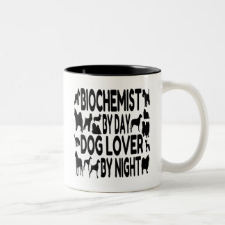 Bioquímico del amante del perro taza de café de dos colores