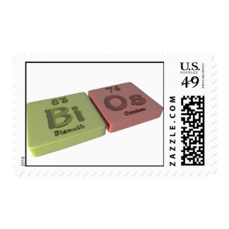 Bios as Bi Bismuth  and Os Osmium Postage Stamps