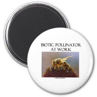 Biotic Pollinator At Work (Bee On A Flower) 2 Inch Round Magnet