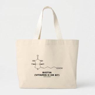 Biotin (Vitamin H Or B7) Chemical Molecule Jumbo Tote Bag