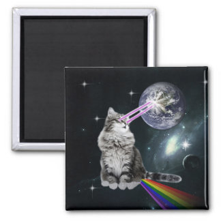 Bioworld Laser Eyes Space Cat 2 Inch Square Magnet