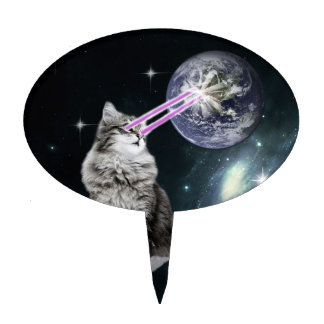 Bioworld Laser Eyes Space Cat Cake Topper